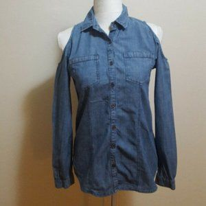 Charlotte Russe Chambray Cold Shoulder Top S